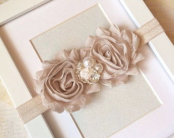 Beige chiffon headband,baby headband,adult headband,infant headband,child headband