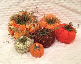 Autumn Harvest Fabric Pumpkins, set of 6
