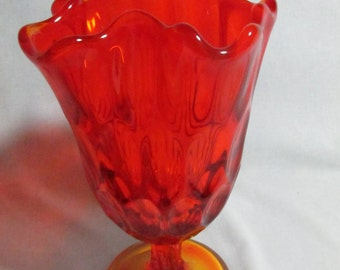 Fenton handkerchief vase orange thumbprint, Vintage 1960s