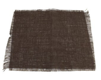 """Chocolate Brown Burlap Placemats 13""""x17""""(Pack of 6)fringe, fine weave, rustic country weddings, home decor.Available in other colors(BF-P26)"""
