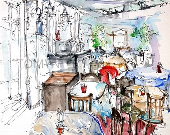 LVIV.  Cafe #1.  MARKET SQUARE. Ukraine  Wall Art. Lviv watercolors. Original   watercolor painting.