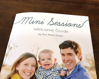 Mini Session Welcome Guide Magazine Template:  12 Page 5.5x8.5 CustomizableTemplate - Instant Download - Photography Direct Marketing