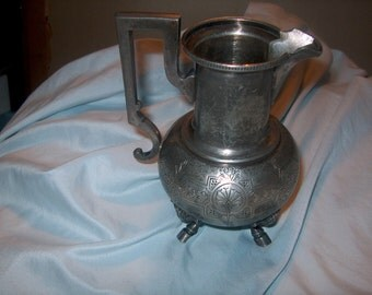 Antique Vintage Silverplate Pitcher, North Wind Faces on Feet