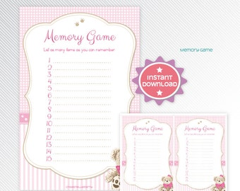 Pink Teddy Bear Memory Game, Baby Shower Printable Game INSTANT DOWNLOAD