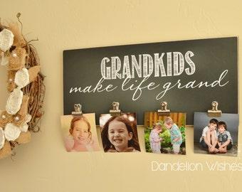 Grandkids Picture Frame Gift For Grandparents {Grandkids Make Life Grand} Wall Frame Mother's Day Gift, Custom Photo Frame, Grandparents Day