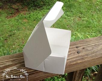 "BULK  • 100  Each -  4"" x 4"" x 2-1/2"" White/White  Lock & Tab Box With Window • Cookie Box  • Single Donut Box • Wedding Favor"