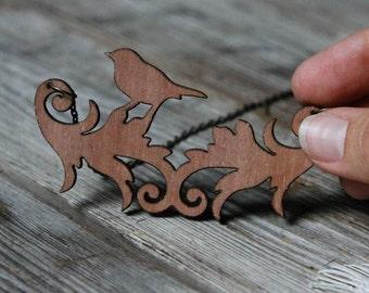 Wood Bird Silhouette Necklace