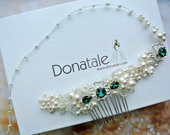 Bridal Headpiece, Emerald Wedding Hair Piece , Bridal Hair Vine,  Wedding hair crown, Bridal hair vine, Wedding headband - VANESSA