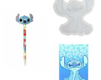 Set of 3 - Disney Lilo & Stitch Sticky Notes, Journal Diary, and Stitch Topper Pen