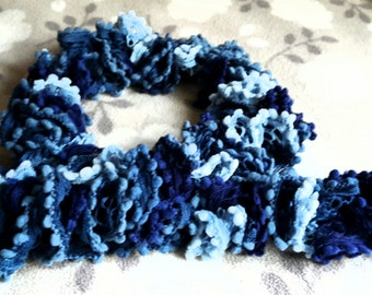 Varigated Blue Loopy Scarf- Handmade in Smoke and Pet Free Home