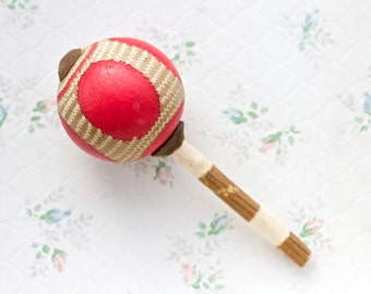 Pink African Maraca - Vintage Toys - Rattle in Fuschia