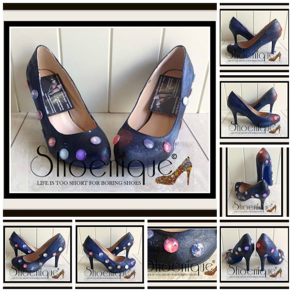 Solar System Planet Hand Made Shoe High Heels Size 3 4 5 6 7 8