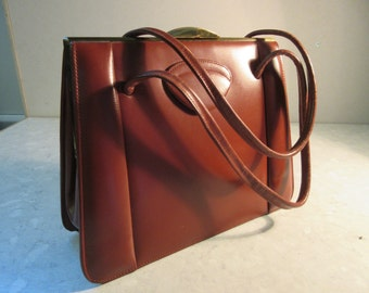Vintage 1930's Leather Handbag By 'Sir John Bennett Of Bond St, London W1' - Lovely!!!