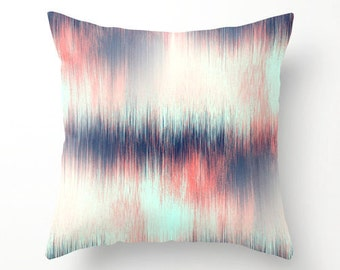 Throw Pillow Cover Coral Pillow Cover Navy Pillow Cover Abstract Art Pillow Cover Decorative Pillow Cover Couch Pillow Cover Navy Beige Aqua