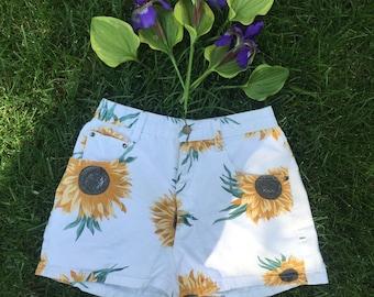 Vintage Sunflower High Rise Shorts
