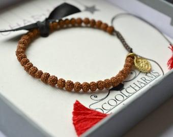 Good Luck Bracelet, Yoga, Praying beads, Mala, Tassel, Om Charm, Mala