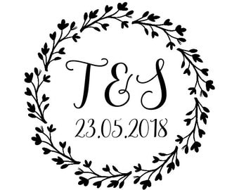 "Floral Wedding Wreath Stamp, personalised stamp, initials & date, wedding cards and favours stamp, DIY bride stationery, 1.8""x1.8"" (cts149)"