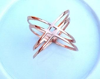 X Ring ~ Cross Cross Ring ~ 14K Rose Gold Fill X Ring ~ Sterling Silver X Ring ~ Thin Silver Ring ~ Criss Cross Rings ~ Christmas Gift