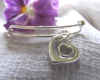 "D. Kirkup Designs Sterling Silver ""Hearts Entwined""  Expandable Bracelet"