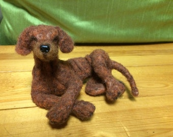 OOAK Needle felted Red Dog