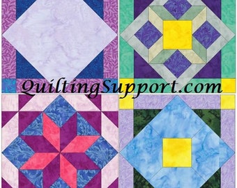 15 Inch Block Set of 4 Paper Piece Template Quilting Block Patterns Set 2 PDF