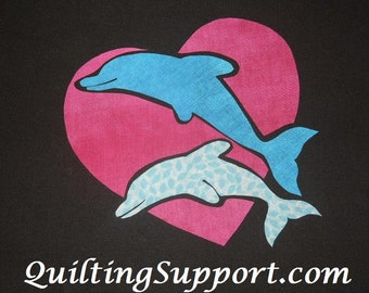 Dolphins with Heart Quilt Applique Pattern Design PDF