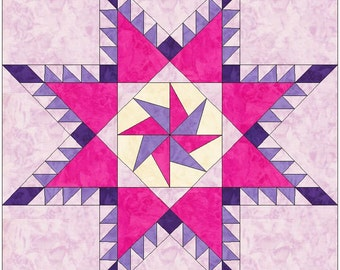 Pinwheel in a Feathered Star Paper Piece Template Quilting Block Pattern PDF