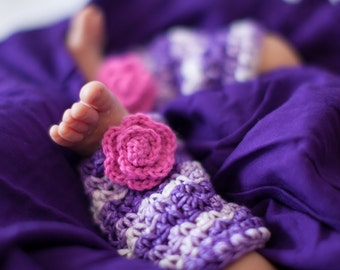 Flower Legwarmers - Pink- Purple- Baby- Newborn