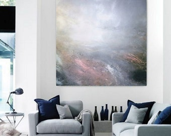 """Extra large ABSTRACT original painting, neutral colors painting, """"Dream landscape"""""""