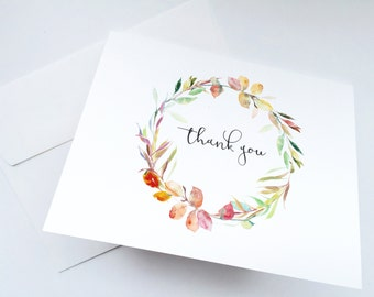 Watercolor Floral Wreath Thank You Cards