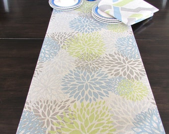 FALL TABLE RUNNER 12 x 48 Tan Table Runners Wedding Showers Tan Gray Blue Spa Blooms Gray 48 60 72 84 96