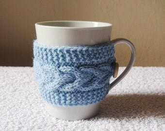 Light blue mug cozy, knit coffee cozy, cup warmer, blue cup sleeve, tea cup cozy, cable mug cozy