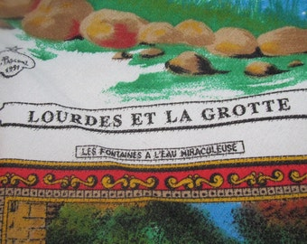 1/2 off 100.00!!!! Our Lady of Lourdes Mary Vintage Heirloom Scarf Made in Paris German Italian Grotto St. Bernadette Immaculate Conception