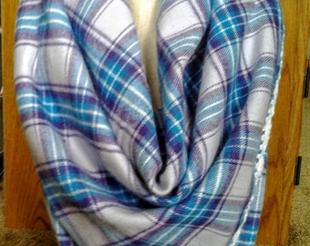 Blue and Purple Plaid Flannel Blanket Scarf with Crochet Edge