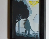 Zelda Link framed hand paper cut, special wall art, unique gift, video game home decor, video game wall art, video game gift, geek gift