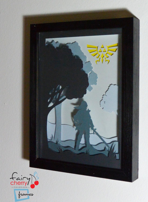 Zelda Wall Decoration : Zelda link framed hand paper cut special wall art unique
