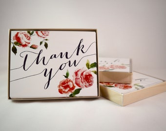 Vintage Floral Thank You Cards with Envelopes - Set of 10
