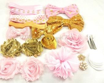 Baby shower headband kit - Pink & Gold headband station kit - Headband kit - Headband party kit - Diy headband kit