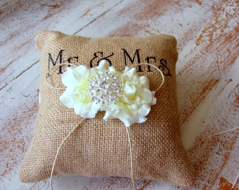 Bouquet Lane Small Burlap Ring Pillow with Ivory Roses – Mr & Mrs Wedding Ring Bearer Pillow