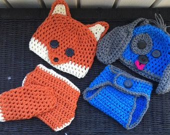 Diaper cover and matching hat choice of puppy or fox