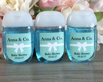 Hand sanitizer labels, Turquoise baby shower favor labels, bridal shower favor sticker, hand sanitizer favor label, Baby and Co favor label
