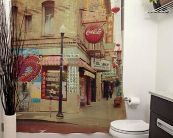 San Francisco's Chinatown Shower Curtain. California Photography, Urban, Street Photography, City, Graffiti, Red Home Decor, Photo Art