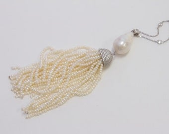 Sterling Silver and cz Tassel Necklace