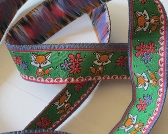 Woven Ribbon Fox with flowers - 19 mm