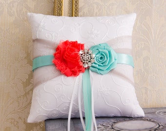 Coral and Aqua Ring Bearer Pillow, Aqua Wedding Ring Pillow, Wedding Ring Bearer Pillow, Coral Wedding Pillow