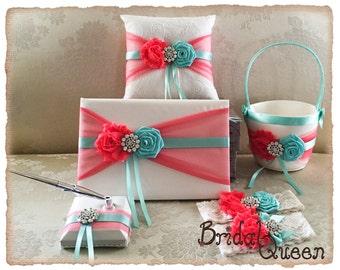 Aqua and Coral Ring Bearer Pillow, Flower Girl Basket,  Flower Girl Basket and Ring Bearer Pillow Set, Wedding Pillow, Guest Book