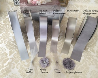 SAMPLES GRAY, Silver Tulle, chiffon flowers and Satin Ribbon