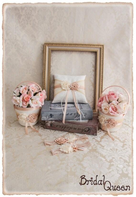 Rose Gold Wedding Flower Girl Basket And Ring Pillow Set Blush Weding