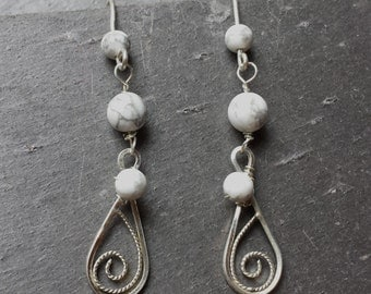 Sterling Silver Filigree and Howlite Earrings