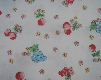 "Fat Quarter of Yuwa Sunday 9am Cherries, Grapes and Floral Fabric on Off White Background. Approx. 18"" x 22"